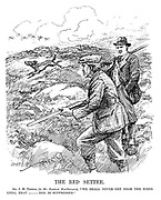 """The Red Setter. Mr J H Thomas (to Mr Ramsay MacDonald). """"We shall never get near the birds until that ----- dog is suppressed."""" (an InterWar cartoon showing the Communism dog chasing after birds during a shoot)"""