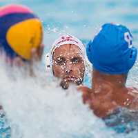 Norbert Madaras (back) of Hungary fights with Valentino Gallo (front) of Italy during the Vodafone Waterpolo Cup in Budapest, Hungary on July 16, 2012. ATTILA VOLGYI