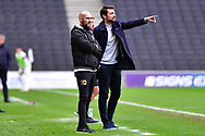MK Dons' Manager Russell Martin and MK Dons' Assistant Manager Luke Williams in the technical area during the EFL Sky Bet League 1 match between Milton Keynes Dons and Hull City at stadium:mk, Milton Keynes, England on 21 November 2020.