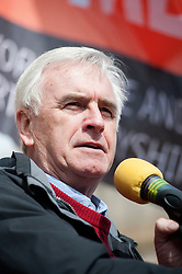 The Labour Shadow Chancellor John McDonnell addresses the rally held in Sheffield on Saturday 9 April, to protest against the Department for Business, Innovation and Skills (BIS) announcement that it will close BIS Sheffield, its biggest office outside London.<br /> <br />  09 April 2016<br />  Copyright Paul David Drabble<br />  www.pauldaviddrabble.photoshelter.com<br />  www.pauldaviddrabble.co.uk