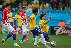 David Luiz na partida entre Brasil x Croácia, na abertura da Copa do Mundo 2014, no Estádio Arena Corinthians, em São Paulo. FOTO: Jefferson Bernardes/ Agência Preview