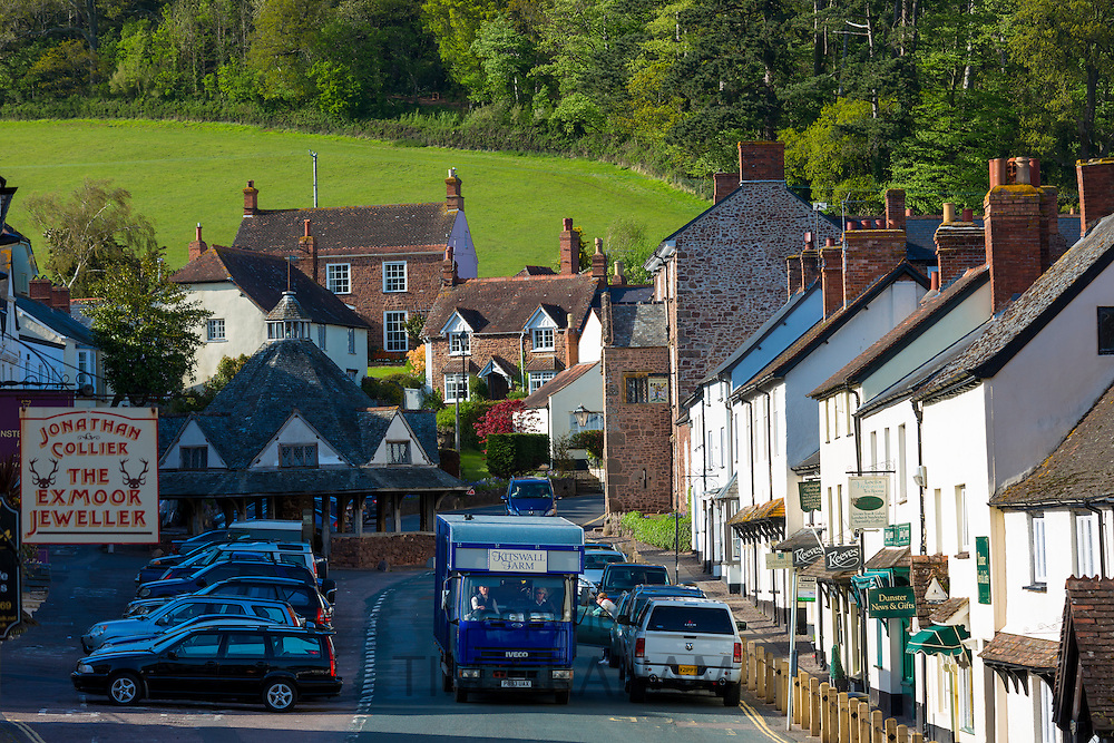 Motoring in a horsebox lorry through the old town of Dunster,  in Somerset, UK