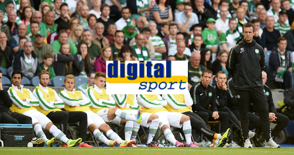 06/08/14 UEFA CHAMPIONS LEAGUE 3RD QUALIFYING RND 2ND LEG<br /> CELTIC v LEGIA WARSAW<br /> BT MURRAYFIELD STADIUM - EDINBURGH<br /> Celtic manager Ronny Deila (right) looks on along with his substitutes.