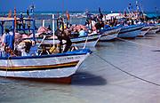 Tunisia; Djerba.Fishing vessels on the eastern coast.