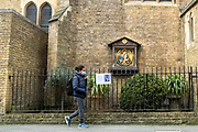 Mcc0094828 . Daily Telegraph <br /> <br /> DT News<br /> <br /> The Church at St Mary's Cadogan Street has been serving it's Parishioners since it's opening by Cardinal Manning in 1879 but due to the Corona Virus pandemic has now had to close it's doors . <br /> In order to continue providing support Father Shaun Middleton , who also acts as the Chaplain for The Royal Hospital Chelsea , has begun streaming mass 5 days of the week .<br /> <br /> <br /> London  31 March 2020