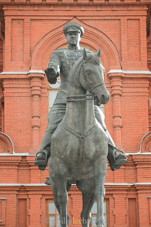Statue of Marshal Zhukov the second world war commander, Moscow, Russia