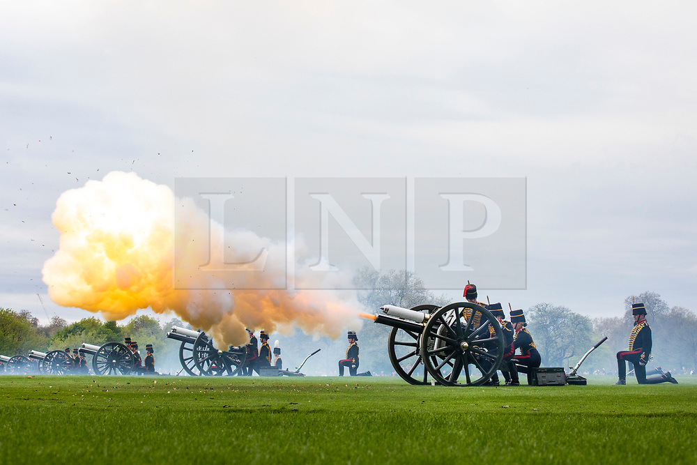 © Licensed to London News Pictures. 24/04/2018. London, UK. The King's Troop Royal Horse Artillery and The Honourable Artillery Company fire celebratory Royal Salutes in Hyde Park to mark the birth of the new Royal baby, the Duke and Duchess of Cambridge's third child. Photo credit: Rob Pinney/LNP