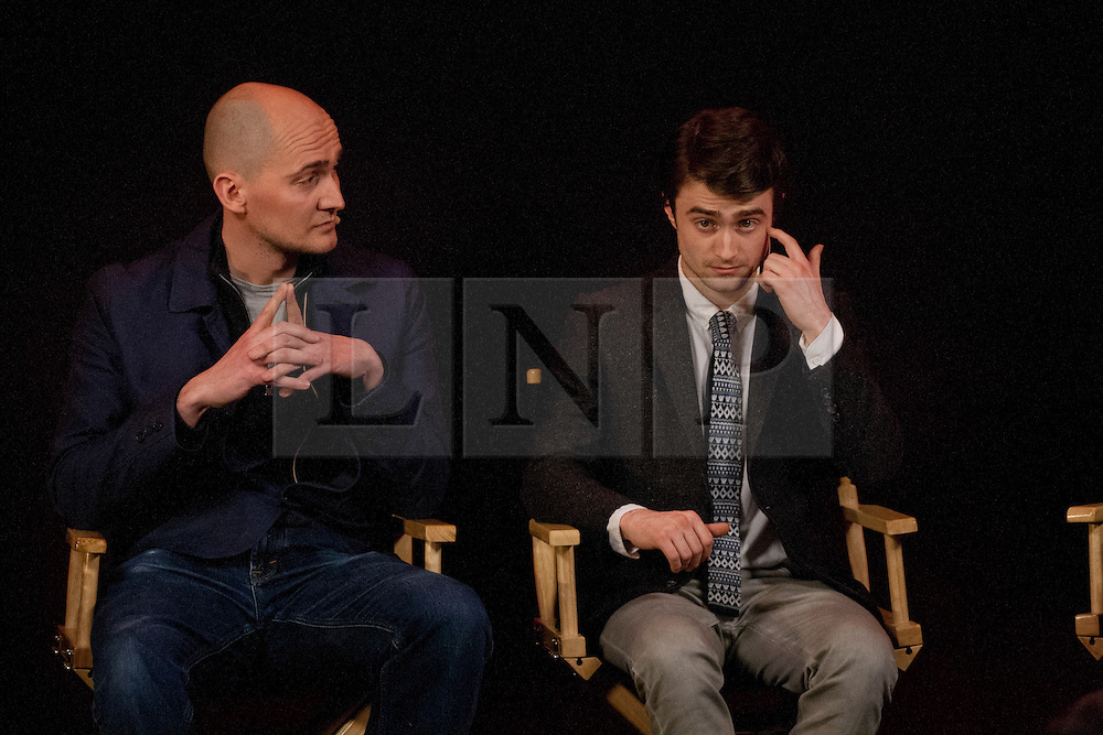 © licensed to London News Pictures. London, UK 09/02/12. Actor Daniel Radcliffe and director of The Women in Black, James Watkins discuss their new movie at Apple Store in Regent Street, London this evening (09/02/12). Photo credit: Tolga Akmen/LNP
