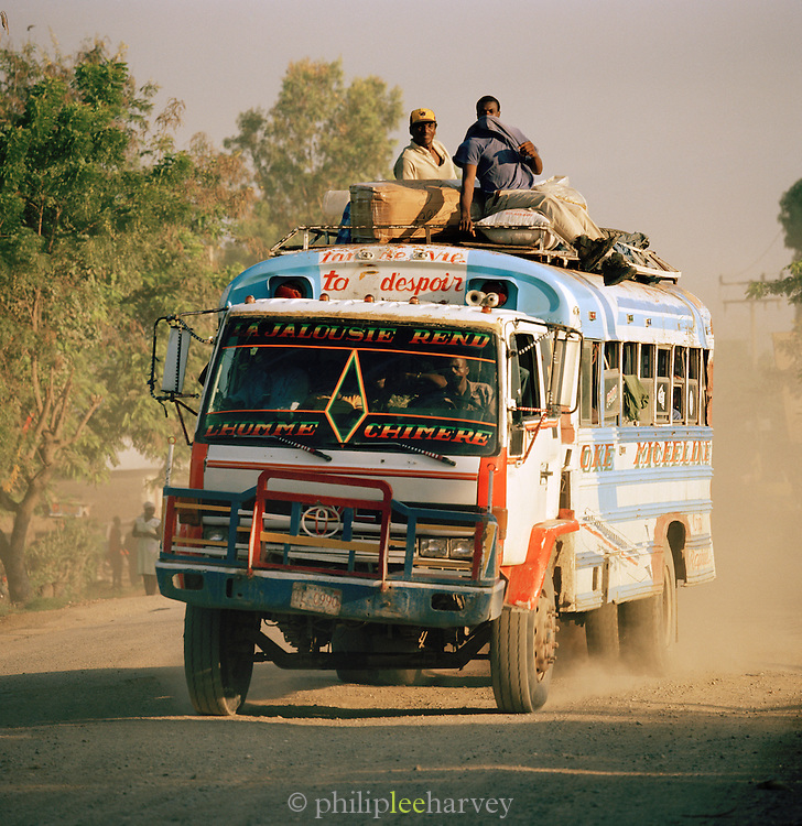 Traditional Tap-Tap bus with passengers, Port-Au-Prince, Haiti