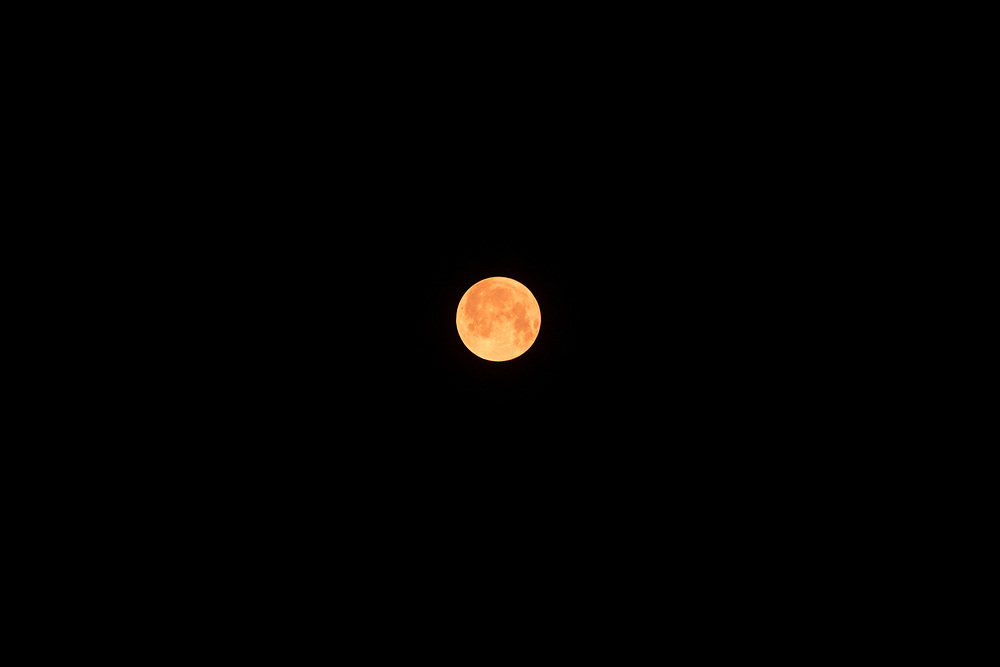 Full moon viewed through smoke from a forest fire.