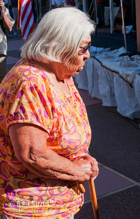 Timbisha Shoshone elder and former Tribal Chairperson Pauline Esteves offers a prayer in the Timbisha language at the Grand Re-Opening of the Furnace Creek Visitor Center in Death Valley National Park, California, on November 4, 2012.