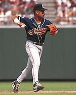 Cleveland Indian Carlos Baerga during game action against the Kansas City Royals at Kauffman Stadium in Kansas City, Missouri in 1995.