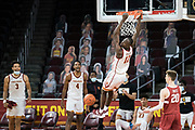 Southern California Trojans forward Boubacar Coulibaly (12) dunks during an NCAA men's basketball game against the Stanford Cardinal, Wednesday, March 3, 2021, in Los Angeles. USC defeated Stanford 79-42. (Jon Endow/Image of Sport)