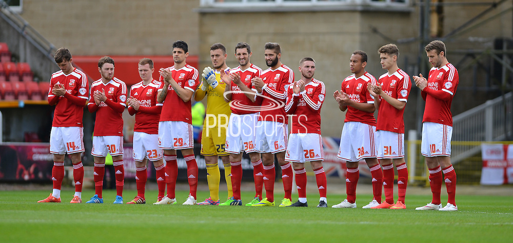 Swindon Town during the Sky Bet League 1 match between Swindon Town and Leyton Orient at the County Ground, Swindon, England on 3 May 2015. Photo by Mark Davies.