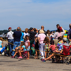 eople behind the safety rope at the air show held at the Community Days at the Lancaster Airport.