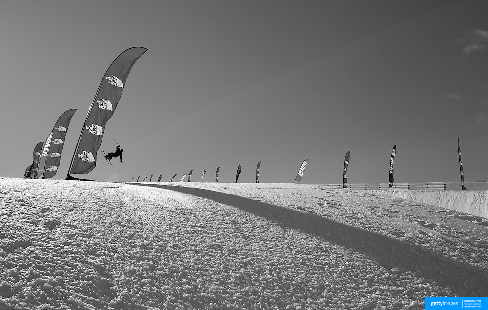 A competitor practices before competition in the Halfpipe Finals during The North Face Freeski Open at Snow Park, Wanaka, New Zealand, 3rd September 2011. Photo Tim Clayton...