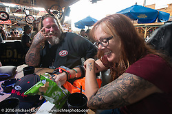 Cindy Panarra and Bob Curatto Cycle Source Grease & Gears demo at the Iron Horse Saloon during the annual Sturgis Black Hills Motorcycle Rally.  SD, USA.  August 8, 2016.  Photography ©2016 Michael Lichter.