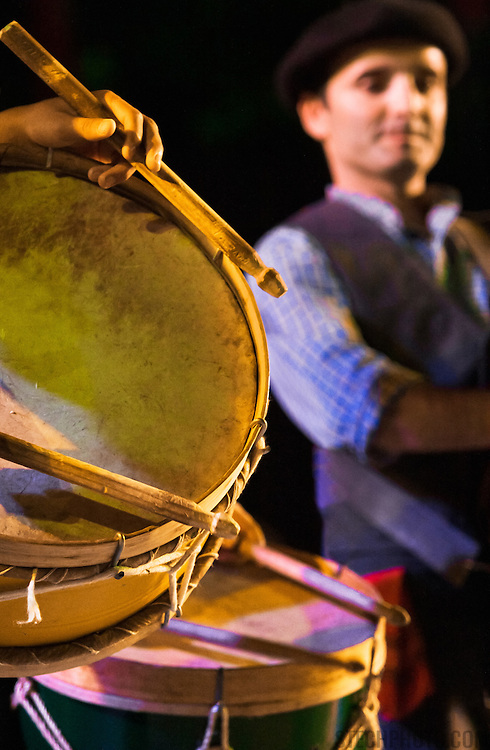 Drummers from Portugal performing at an international folk dance and music festival in Italy.