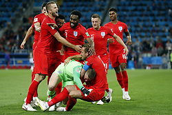 (l-r) Eric Dier of England, Danny Rose of England, goalkeeper Jordan Pickford of England, Harry Kane of England, Jamie Vardy of England, Marcus Rashford of England during the 2018 FIFA World Cup Russia round of 16 match between Columbia and England at the Spartak stadium  on July 03, 2018 in Moscow, Russia