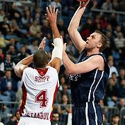 Anadolu Efes's Dusko Savanovic (R) during their Turkish Airlines Euroleague Basketball Top 16 Game 1 match Anadolu Efes between Galatasaray at Sinan Erdem Arena in Istanbul, Turkey, Thursday, January 19, 2012. Photo by TURKPIX