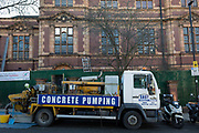 Contractors working for Lambeth Council begin the controversial conversion of Carnegie Library into a gym, by pouring concrete into the Grade II listed building, on 18th December 2017, in Herne Hill, south London, England. Shut by Lambeth council and occupied by protesters for 10 days in April, the library which was bequeathed by American philanthropist, Andrew Carnegie has been locked ever since because, say Lambeth austerity cuts are necessary even though 24hr security make it more expensive to keep closed than open for the local community. A gym that locals say they dont want or need is planned to replace the working library and while some of the 20,000 books on shelves will remain, no librarians will be present to administer it.