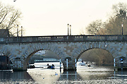 Maidenhead, Berks.  Great Britain, Sunday,  15/01/2012, Crews Boating for morning training, from Maidenhead Rowing Club, Beyond Maidenhead Bridge A4, view from Bridge Gardens,<br /> [Mandatory Credit: Peter Spurrier/Intersport Images]