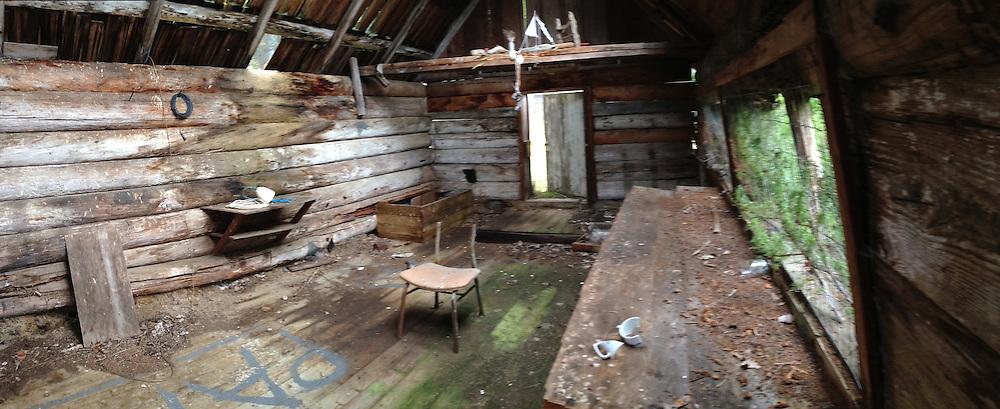 Dilapidated Cabin, Tumbo Island, Gulf Islands National Park Reserve, British Columbia, Canada