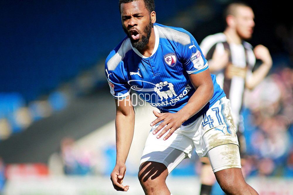 Chesterfield midfielder Zavon Hines (41) misses an early second half chance  during the EFL Sky Bet League 2 match between Chesterfield and Notts County at the Proact stadium, Chesterfield, England on 25 March 2018. Picture by Nigel Cole.