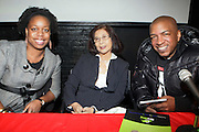 l to r: Dr. Natasha LightFoot, Tricia Chin, and Ralph McDaniels at 'Bring out the Sound System: The West Indian Roots of HipHop'  held at The Point on February 28, 2009 in the Bronx, NY..It is a known fact that the trinity of Hip Hop DJ pioneers have roots in the West Indies including DJ Kool Herc, Afrika Bambaataa, and Grandmaster Flash. Other early artists who made significant contributions to the music include Kool DJ Red Alert, KRS-One, Doug E. Fresh, among others.   ..Post World War II Bronx had a growing community of West Indian immigrants, particularly after the U.S. Immigration Act of 1965.  Recreation rooms at 1520 Sedgwick where Kool Herc deejayed and Bronx River Houses where Afrika Bambaataa held court as well as many local parks and early venues like the Black Door, where Grandmaster Flash rocked, mark the cradle of Hip Hop.