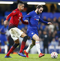 February 18, 2019 - London, United Kingdom - Chelsea's Gonzalo Higuain holds of Manchester United's Chris Smalling.during FA Cup Fifth Round between Chelsea and Manchester United at Stanford Bridge stadium , London, England on 18 Feb 2019. (Credit Image: © Action Foto Sport/NurPhoto via ZUMA Press)