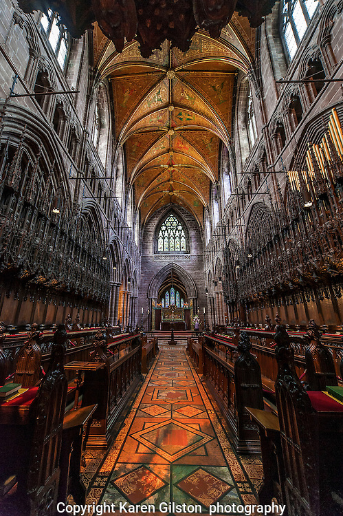 Color images Chester city cathedral, showing architectural detailing of knave, chancel, high alter, rood screen,