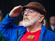 01 NOVEMBER 2019 - DES MOINES, IOWA: People stand at attention for the presentation of the colors at the Liberty and Justice Celebration in the Wells Fargo Arena in Des Moines. The Liberty and Justice Celebration is a fund raiser for the Iowa Democratic Party. Many of the Democratic candidates for the US presidency spoke at the 2019 Celebration. Iowa holds the first presidential selection event of the 2020 election cycle. The Iowa Caucuses are Feb. 3, 2020.         PHOTO BY JACK KURTZ