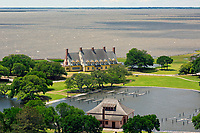 NC01362-00...NORTH CAROLINA - View southwest over the historic boathouse and Whalehead Club on the shores of Currituck Sound from the Observation Deck of the Currituck Beach Lighthouse on the Outer Banks at Corrola.