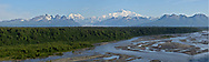 Panoramic view of the Alaska Range with Denali standing above on a perfectly clear day.