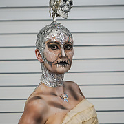 Olympia London, London, England, UK. Model Kerry Clayton by Angela Youngs showcases her latest works and the winner of Comic Strip Couture Body Painting Competition, at The Olympia Beauty show at Kensington Olympia in London on 1st October 2017.