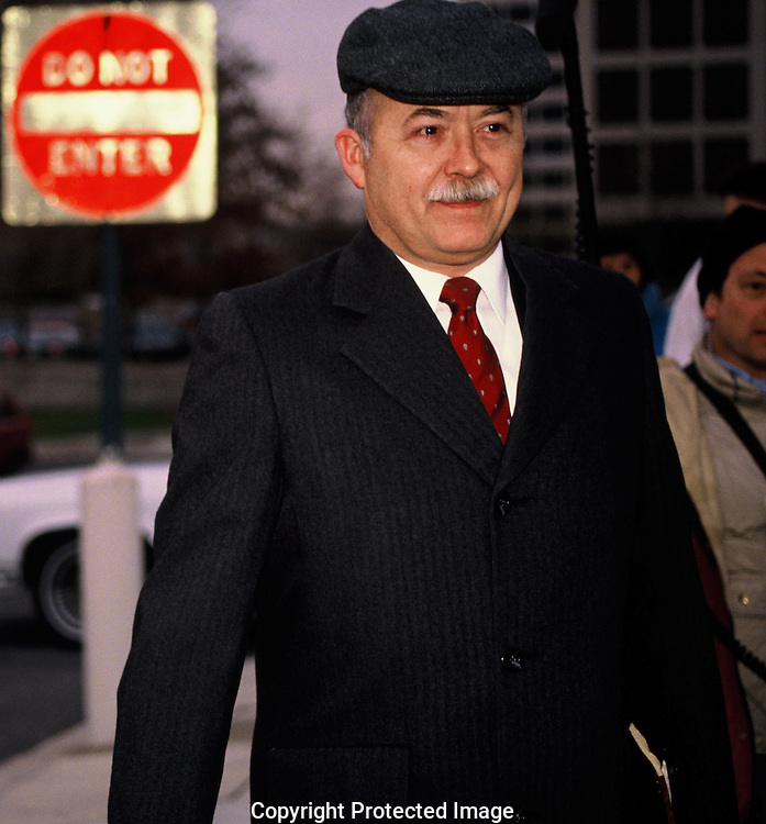 John Poindexter walking to US District Court in March 1990<br /> Photo by Dennis Brack