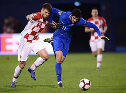 Zagreb, March 21, 2019  Duje Caleta Car (L) Of Croatia and Ramil Sheydaev of Azerbaijan during the UEFA Euro 2020 group E qualifying match between Croatia and Azerbaijan at the Maksimir stadium in Zagreb, Croatia, on March 21, 2019. Croatia won 2:1. (Credit Image: © Marko Prpic/Pixsell/Xinhua via ZUMA Wire)