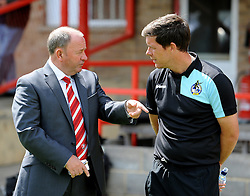 Cheltenham Town manager, Gary Johnson with Bristol Rovers manager, Darrell Clarke  - Mandatory by-line: Neil Brookman/JMP - 25/07/2015 - SPORT - FOOTBALL - Cheltenham Town,England - Whaddon Road - Cheltenham Town v Bristol Rovers - Pre-Season Friendly