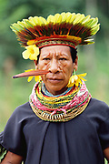 Cofan Indian in traditional dress<br />