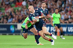 March 1, 2019 - Victoria, VIC, U.S. - MELBOURNE, AUSTRALIA - MARCH 01: Billy Meakes (12) of the Melbourne Rebels competes for the ball at The Super Rugby match between Melbourne Rebels and Highlanders on March 01, 2019 at AAMI Park, VIC. (Photo by Speed Media/Icon Sportswire) (Credit Image: © Speed Media/Icon SMI via ZUMA Press)