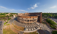Aerial view of Roman Colosseum during sunset, Rome, Italy