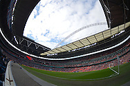 a general view inside Wembley Stadium before k/o. The FA Cup, semi final match, Aston Villa v Liverpool at Wembley Stadium in London on Sunday 19th April 2015.<br /> pic by John Patrick Fletcher, Andrew Orchard sports photography.