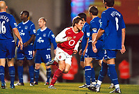 Fotball<br /> Carling Cup Fourth Round<br /> 09.11.2004<br /> Foto: Colorsport/Digitalsport<br /> NORWAY ONLY<br /> <br /> Arturo Lupoli (Arsenal) celebrates his 2nd goal as the Everton defence can only look on. <br /> <br /> Arsenal v Everton
