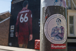LIVERPOOL, ENGLAND - Monday, June 1, 2020: A sticker of Liverpool's Trent Alexander-Arnold on a lamppost in front of a mural of the player near Anfield. The mural was commissioned by The Anfield Wrap. (Pic by David Rawcliffe/Propaganda)