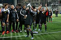 Eden Hazard of Belgium celebrates with his teammates at the end of the UEFA European Championship 2016 qualifying Group B football match between Andorra and Belgium on October 10, 2015 at The Estadi Nacional in Andorra la Vella, Andorra. <br /> Photo Manuel Blondeau/AOP Press/DPPI
