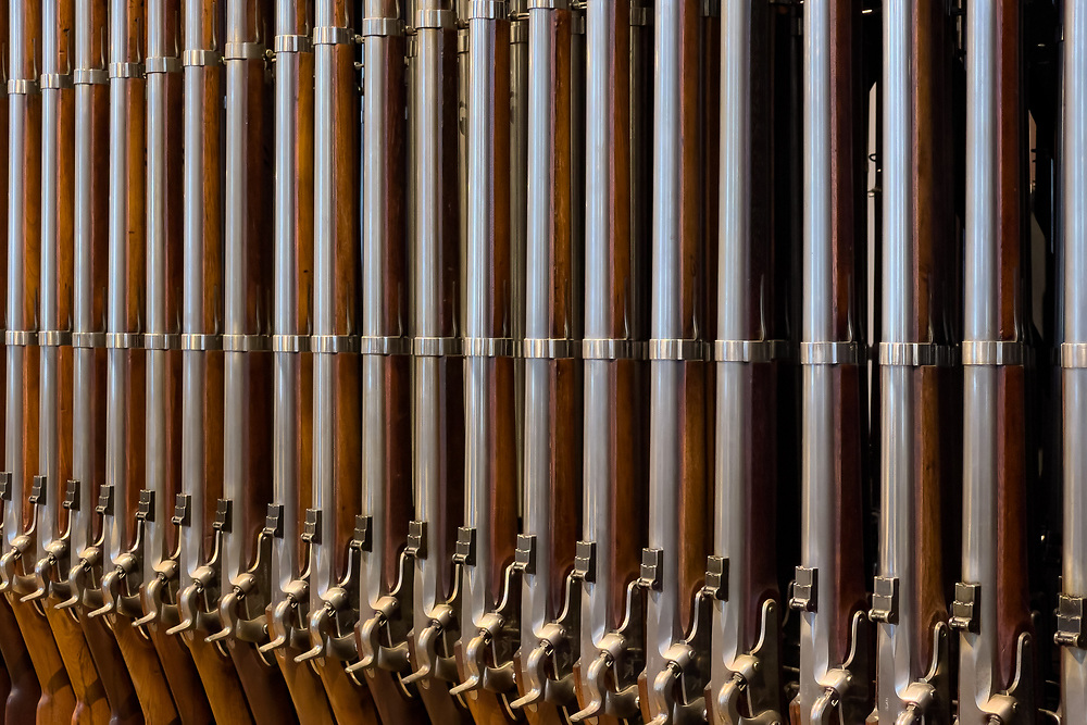 Muskets on exhibit exhibit at the Springfield Armory National Historic Site.