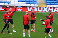 Gareth Bale of Wales © has fun with Sam Vokes (l)during the Wales football team training at the Cardiff city Stadium in Cardiff , South Wales on Saturday 8th October 2016, the team are preparing for their FIFA World Cup qualifier home to Georgia tomorrow. pic by Andrew Orchard, Andrew Orchard sports photography