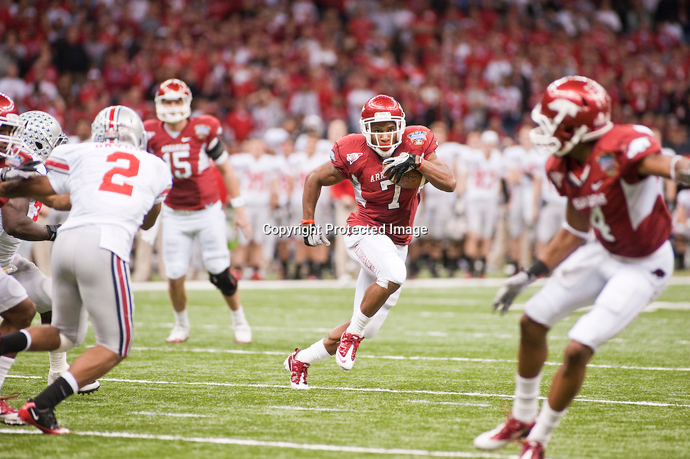 Sports photography of the Arkansas Razorbacks vs Ohio State Buckeyes at the Allstate Sugar Bowl in New Orleans, Louisiana in 2011.