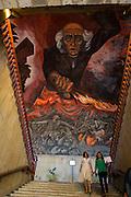 Mural by Jose Clemente Orozco of Miguel Hidalgo, Palacio de Gobierno, Guadalajara, Mexico