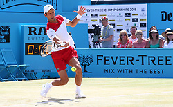June 24, 2018 - London, England, United Kingdom - Novak Djokovic (SRB) in action .during Fever-Tree Championships Final match between Marin Cilic (CRO) against Novak Djokovic (SRB) at The Queen's Club, London, on 24 June 2018  (Credit Image: © Kieran Galvin/NurPhoto via ZUMA Press)